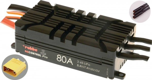 RO-CONTROL PRO WIFI 2-6S 80A HV-BEC XT-90 / 4mm Goldkontaktbuchsen